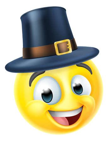 Thanksgiving Pilgrim Emoticon Emoji Cartoon Icon