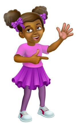 Black Girl Cartoon Child Kid Pointing Waving Иллюстрация
