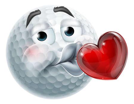 Golf Ball Kissing Heart Emoticon Emoji Icon Face