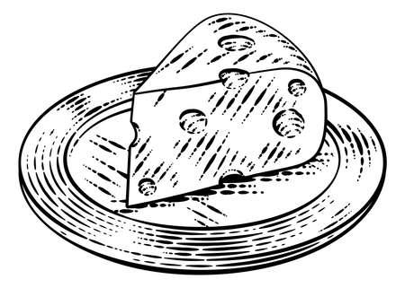 Swiss Cheese Vintage Woodcut Etching Style Иллюстрация