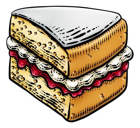Cake Sponge Slice Jam Cream Woodcut Drawing Иллюстрация