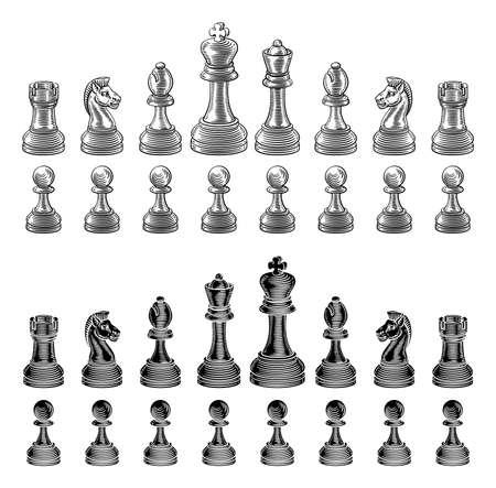 Chess Pieces Set Vintage Woodcut Style Иллюстрация