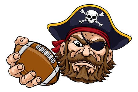 Pirate American Football Sports Mascot Cartoon