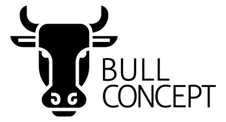 Bull Sign Label Icon Concept