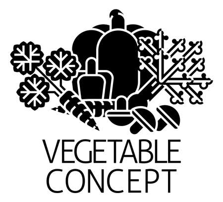 Vegetable Sign Label Icon Concept Иллюстрация