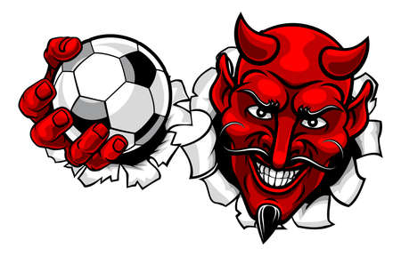Devil Soccer Football Ball Sports Mascot Cartoon