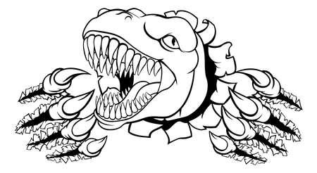 Dinosaur T Rex or Raptor Cartoon Mascot Иллюстрация
