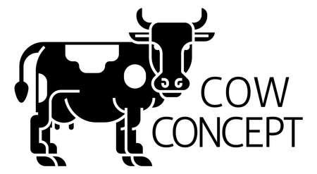 Cow Sign Label Icon Concept Иллюстрация