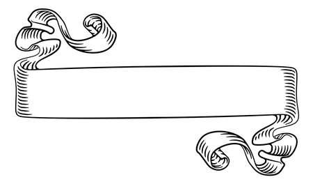 Scroll Banner Woodcut Vintage Style Ribbon Иллюстрация