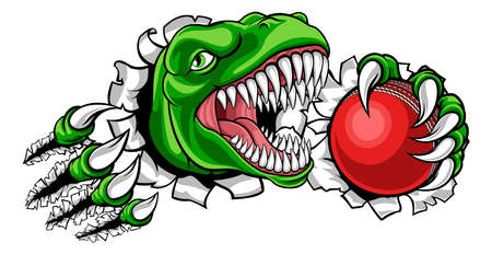 A dinosaur T Rex or raptor cricket player cartoon animal sports mascot holding a ball in its claw