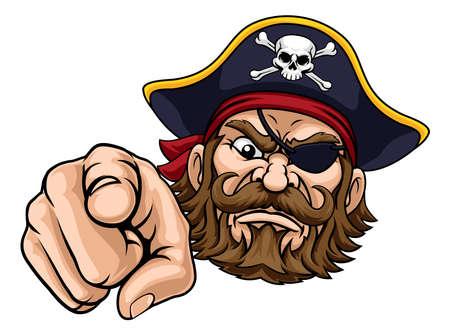 Pirate Captain Cartoon Character Mascot Pointing Vecteurs