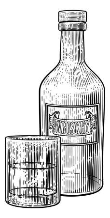 Whisky Bottle and Glass Drink Engraving Etching