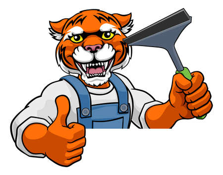 Tiger Car Or Window Cleaner Holding Squeegee Vetores