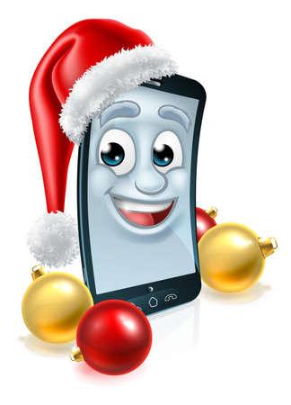 Mobile Cell Phone Christmas Mascot in Santa Hat Vektorové ilustrace