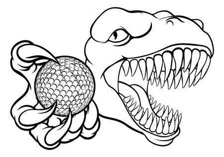 Dinosaur Golf Player Animal Sports Mascot Vecteurs