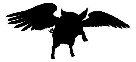 Flying Pig Wings Silhouette Saying Pigs Might Fly Vector Illustration