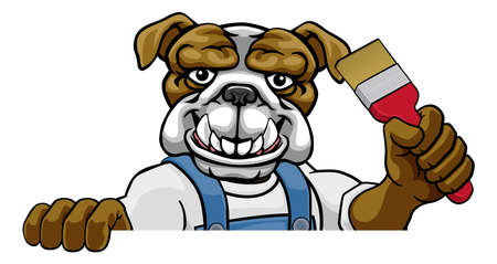 Bulldog Painter Decorator Holding Paintbrush