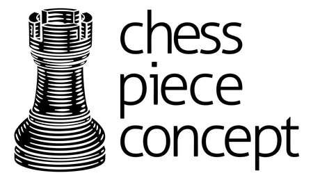 Rook Chess Piece Vintage Woodcut Style Concept Illusztráció