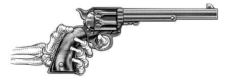 Skeleton Hand Western Cowboy Gun Pistol Woodcut