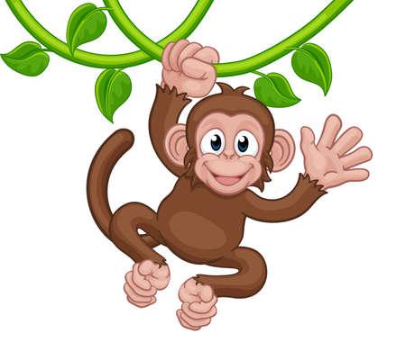 Monkey Singing On Jungle Vines Waving Cartoon