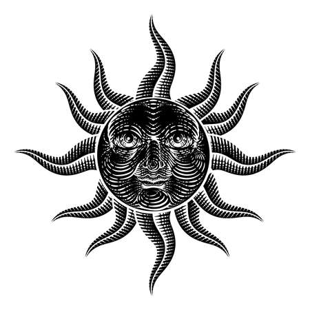 Sun Face Woodcut Drawing Retro Vintage Engraving