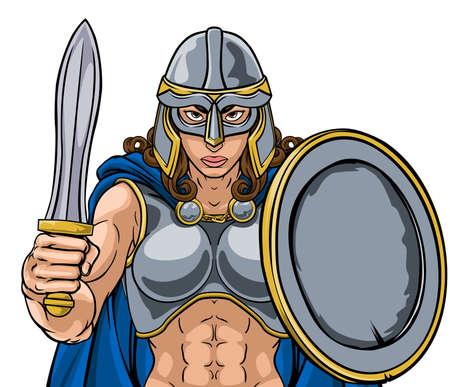 Viking Trojan Spartan Celtic Warrior Knight Woman Vecteurs