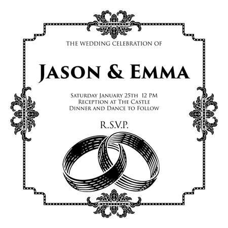Wedding Band Rings Intertwined Woodcut Invite Illusztráció