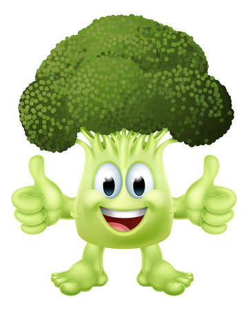 Broccoli Vegetable Cartoon Character Emoji Mascot Illusztráció