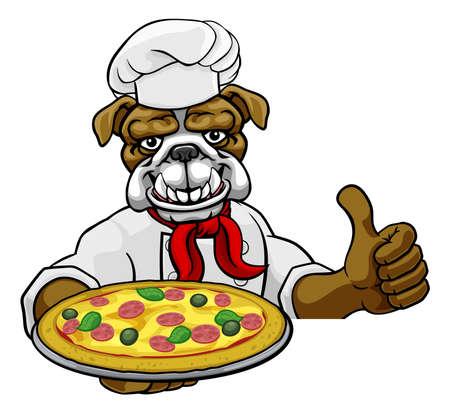 Bulldog Pizza Chef Cartoon Restaurant Mascot Sign Illusztráció