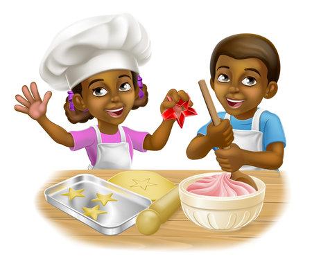 Black Girl and Boy Cartoon Child Chef Cook Kids Illusztráció