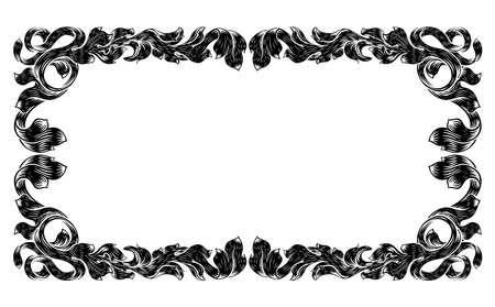 Filigree Heraldry Leaf Pattern Floral Border Frame