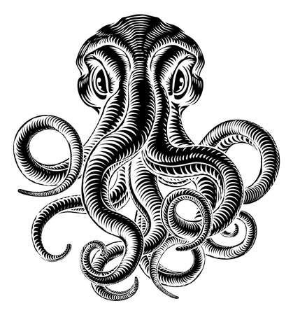 Octopus or Cthulhu Squid Monster Vintage Woodcut Illusztráció