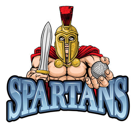 Spartan Trojan Golf Sports Mascot Illusztráció
