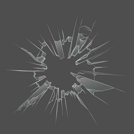 Gun Shot Bullet Hole In Broken Glass Design Illusztráció