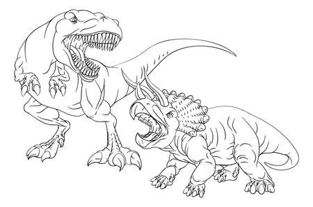 Coloring Book Page Dinosaurs In Outline Vecteurs