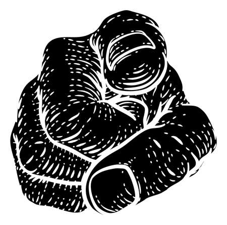 Hand Pointing Finger At You Vintage Woodcut Style
