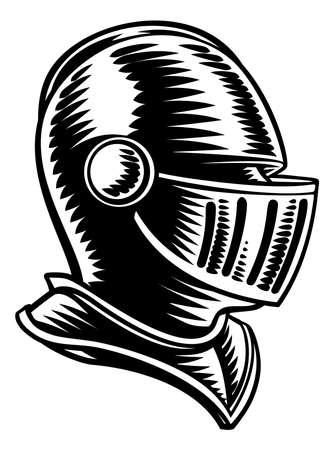 Medieval Knight Head Helmet Vintage Woodcut Style