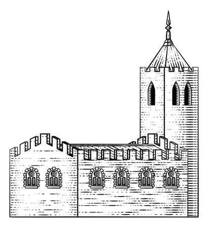 Church Cathedral Old Medieval Vintage Building Illusztráció