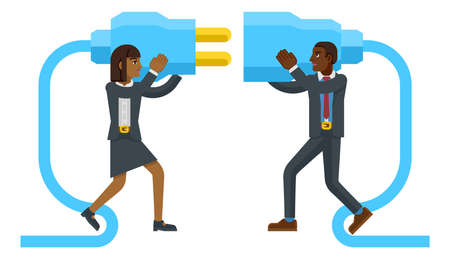 Connecting Plug Fitting Together Business Concept Illusztráció