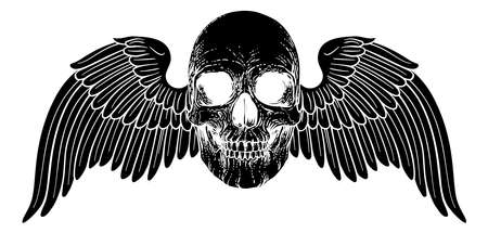 Winged Skull Vintage Woodcut Illustration Illusztráció