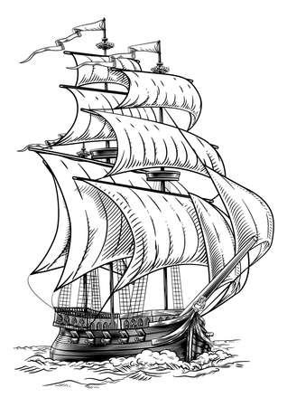 Old Fashioned Ship Vintage Etching Woodcut Style Illusztráció