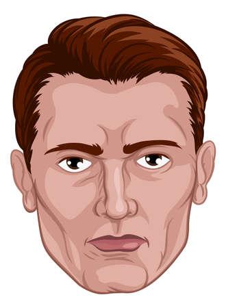 Handsome Man Head Face Illusztráció