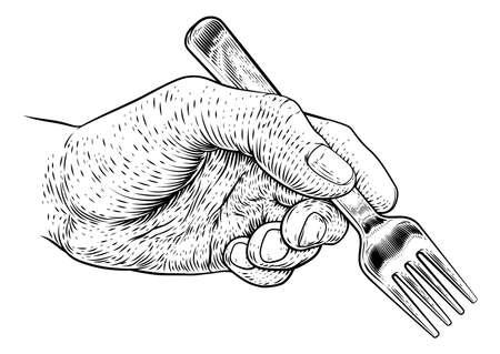 Hand With Food Eating Fork Vintage Woodcut Print