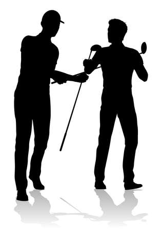 Golfer Golf Sports People in Silhouette