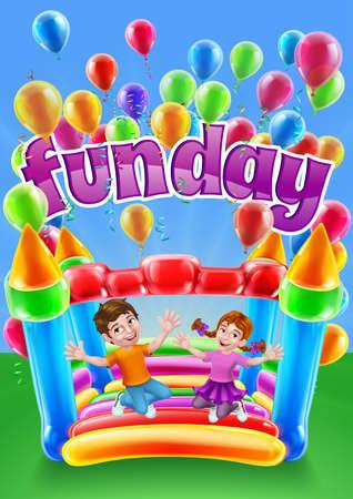 Bouncy House Castle Jumping Girl Boy Kids Cartoon Illusztráció