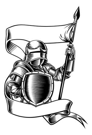 Knight With Banner Battle Flag Standard Ribbon