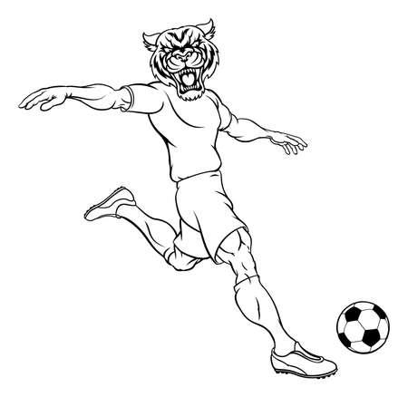 Tiger Soccer Football Player Animal Sports Mascot