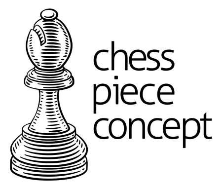 Bishop Chess Piece Vintage Woodcut Style Concept Illusztráció