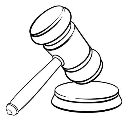 Judge Hammer Wooden Gavel and Base Cartoon Illusztráció