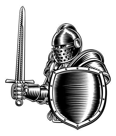 Medieval Knight Sword And Shield Vintage Woodcut Illusztráció